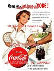 Coca-cola 1954 Tennis Come On Letand039s Have A Coke = Poster 10 Sizes 17 - 4.5 Feet