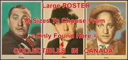 3 Three Stooges 1959 Curly Moe Larry = Poster Trading Card 10 Sizes 40 - 7 Feet
