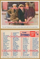 Three Stooges 1959 Check List = Poster Trading Card 10 Sizes 18 - 4 1/2 Feet