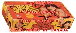 Three Stooges 1966 Larry Moe Curly = Wax Pack Box Poster 6 Sizes 17 - 7 Feet