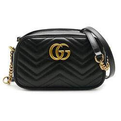 Price Pawn Shop Gg Marmont Quilted Small Shoulder Bag Razor Chain Black