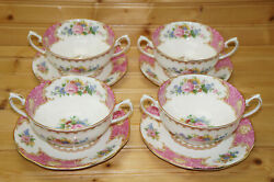 Royal Albert Lady Carlyle 4 Cream Soup Bowls, 4 5/8 And 4 Cream Soup Saucers