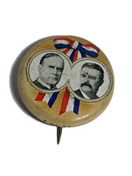 1972 William Mckinley Teddy Theodore Roosevelt Litho Campaign Pin Pinback Button