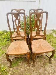 Antique Continental Queen Anne Side Chairs Set Of 4