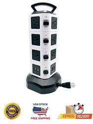 Rhino Power Strip Tower Surge Protector With 4 Usb Ports 10 Outlet Retractable