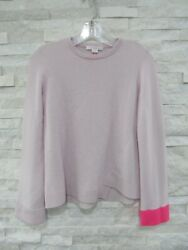 New Duffy Pale Petal And Neon Pink 100 Cashmere Bias Seam Pullover Sweater Xs