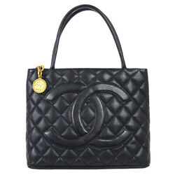 Medallion Quilted Cc Hand Tote Bag 6698005 Purse Black Caviar Skin 61413