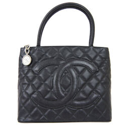 Medallion Quilted Cc Hand Tote Bag 8256497 Purse Black Caviar Skin 61414