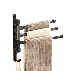 Elloandallo Oil Rubbed Bronze Swing Out Towel Rack For Bathroom Holder Wall Towel