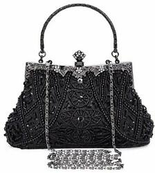 1920s Vintage Beaded Clutch Evening Bags for Women Formal One Size Black $42.82