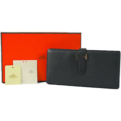 Hermes With Coin Purse Mens Long Wallet Gusset Yes Bean Souffle Voepson Silver