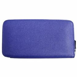 Hermes Azap Long Classic Voepson Round Fasteners Wallet/ Leather Wallet Blue