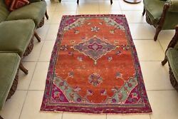 Oushak Accent Rug 3.6x5.9 Ft Handwoven Turkish Traditional Vintage Runner C40