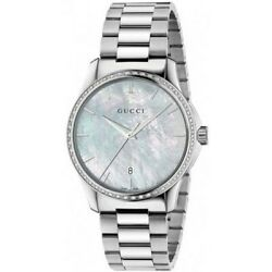New G-timeless Mother Of Pearl Dial Diamond Steel Unisex Watch Ya126444