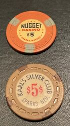 Casino Chips Vintage Obsolete Karl's Silver Club And Nugget 5 Sparks Nv, Pair