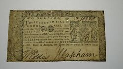 1774 2 Annapolis Maryland Md Colonial Currency Bank Note Bill Rare Two Dollar