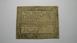 1775 1 1/3 Annapolis Maryland Md Colonial Currency Bank Note Bill Rare Issue