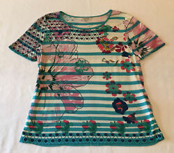 Ivko Woman Multi-color Stripes And Floral Lightweight Knit Top Size 40 Or M Medium