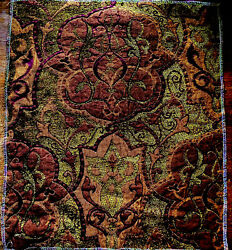 Antique Fabric Sample 15x13 Heavyweight Woven Chenille Art Nouveau Fortuny