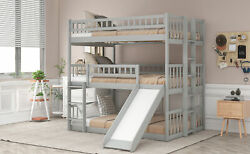 Wooden Triple Bunk Beds With Built-in Ladder+slide And Guardrail For Kids Bed Ky