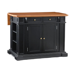 Kitchen Island 49.75 In. X 36.5 In. Antique Pewter Drop-leaf Resin Gloss Black
