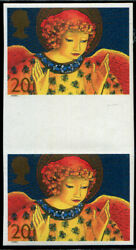 1998 Xmas 20p Sg 2064a Variety And039imperfand039 Gutter Pair U/m Fine Four Margins. Sc