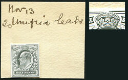 1902andfrac12d Die Proof In Black Cut To Stamp Size On And039de La Rueand039 Striking Book Piec