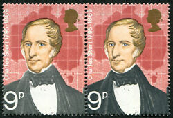 1973 Explorers 9d Sg 927c Variety, 'grey-black' Omitted U/m, In Pair With Norma