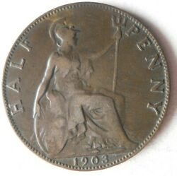 1903 Great Britain 1/2 Penny - Excellent Collectible Coin -free Ship - Uk Bin Q