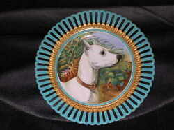 Antique Bull Terrier Oil Painting Dog Plate / Plaque 1890 G Earl Superb Quality