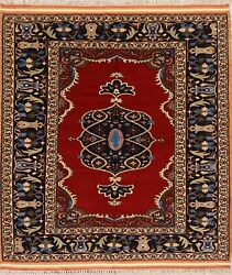100 Wool With Silk Highlights Dorokhsh Area Rug Hand-knotted Carpet 5x5 Square