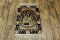 Excellent Antique Pre-1900 Kirman-ravar Pictorial Area Rug Hand-knotted Wool 2x3