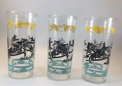 Lot Of 3 Vintage Mid Century Glasses Equestrian Horse Rider Dogs Hounds Fox Hunt