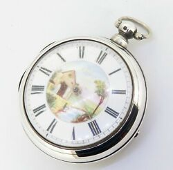 .c 1844 Tho James Sterling Silver English Verge Pair Cased Pocket Watch