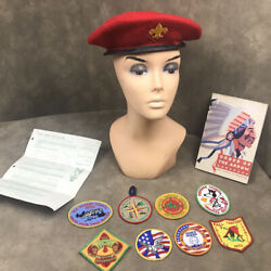 1966-70 Boy Scout Lot Wool Beret Hat, 8 Patches , Book Eagle Scout Application