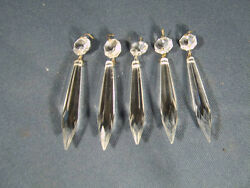 5 Victorian Style Crystal Glass 4 Inch Brilliant Cut Prisms Brass Pins