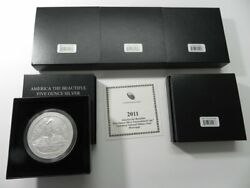 Complete 2011-p Set Of 5oz Silver America The Beautiful Coin W/ Ogp Boxes And Coa