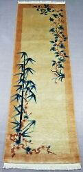 Antique Hand Made Traditional Chinese Flower Art Deco Wool Rug Runner 201x69cm
