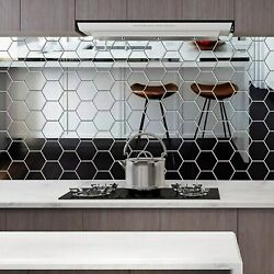 48pc 3D Mirror Tiles Mosaic Wall Stickers Self Adhesive Bedroom Art Decal Home