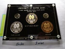 University Of Notre Dame 1st Game In Stadium 999 Silver Gold Bronze Coins Case