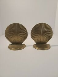 Vintage Solid Brass Seashell Scallop Shell Bookends Book Holders