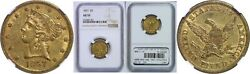 1857 5 Gold Coin Ngc Au-55