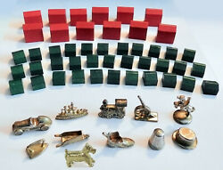 Full Set Of 10 Gold Tokens And Wood Hotels And Houses From A Deluxe Monopoly Game