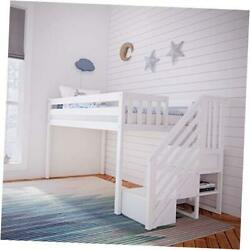 Twin Low Loft With Staircase Bed White Low Loft + Staircase