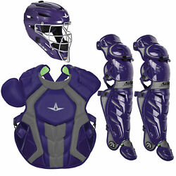 All-star System7 Axis Nocsae Adult Baseball Catcherand039s Package - Purple