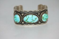 Old Pawn Vintage Navajo Cuff Bracelet Sonora Gold Turquoise, 925, Gilbert Nelson