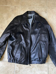 Izod Mens Leather Jacket Size Xxl Black With Collar Thick Winter Coat