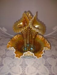 Fenton For Levay Glass Large Aqua Opalescent Carnival Hobnail Epergne Scarce