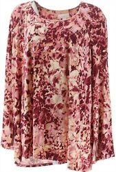 Belle Kim Gravel Watercolor Floral Knit Top Pink Xl New A347142