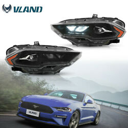 Vland Full Led Projector Headlight W/ Amber Reflector For 2018-2021 Ford Mustang